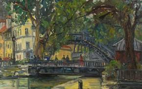 Picture trees, bridge, home, picture, the urban landscape, The Canal Saint-Martin. Paris, Arbit Blatas