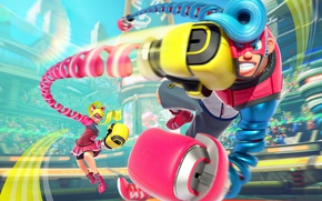 Picture girl, game, robot, mecha, man, fight, punch, fighters, Arms, Nintendo Switch, Arms for Nintendo Switch, …