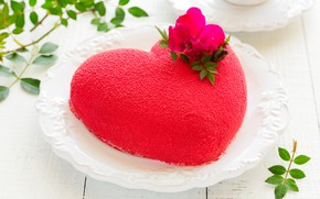 Picture red, heart, plate, sweets, cake, Valentine's day, cream, leaves, bokeh, twigs, rosette