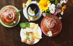 Picture lemon, tea, Cup, lemon, grass, cakes, cup, bun, tea, herbal