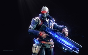 Picture gun, pistol, game, soldier, weapon, man, rifle, mask, suit, strong, Overwatch, Soldier 76
