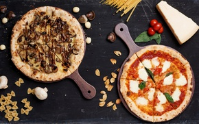 Picture mushrooms, cheese, seafood, the dough, pasta, pizza