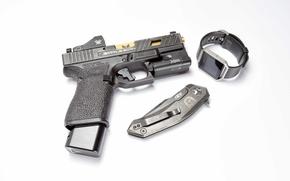 Picture gun, watch, knife, Glock