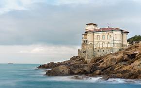 Picture sea, the sky, clouds, stones, castle, coast, ship, horizon, Italy, Boccale Castle