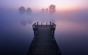Wallpaper bridge, fog, lake