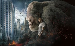 Picture City, Action, Fantasy, Fire, Flame, White, Wolf, 2018, Dwayne Johnson, EXCLUSIVE, Movie, Kate, Film, Crocodile, …
