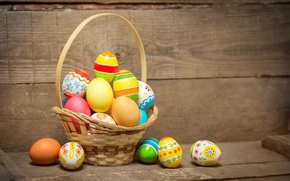 Wallpaper basket, colorful, Easter, happy, wood, spring, Easter, eggs, holiday, basket, the painted eggs