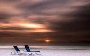 Picture sea, night, shore, sunbeds