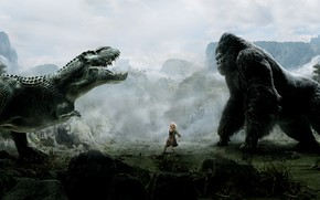 Wallpaper King Kong, Girl, Action, Jungle, Clouds, Sky, Beautiful, Naomi Watts, Sake, Cloudy, Female, Big, 2005, ...