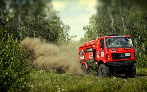 Picture Red, Dust, Forest, Sport, Truck, Race, Rally, Rally, The roads, 312, MAZ, Silk road, Silk ...