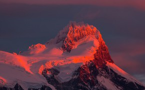 Picture snow, mountains, top, glow, peak, Chile, Magallanes
