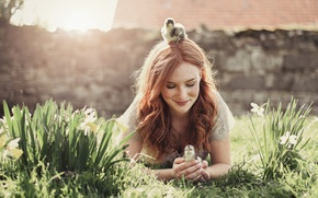 Picture girl, flowers, birds