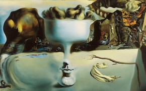 Wallpaper surrealism, picture, Salvador Dali, Salvador Dali, The phenomenon of Face and Fruit bowl on a ...