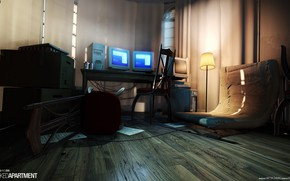 Picture computer, the room, laminate, lampshade, Wrecked Apartment