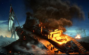 Picture smoke, flag, tank, Battlefield 1, field battle