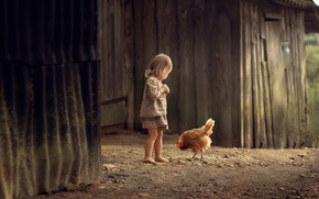 Picture childhood, chicken, girl