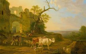 Picture animals, landscape, tree, oil, picture, ruins, Jan Bedijs Tom