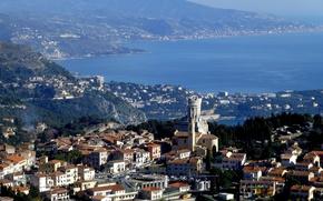 Picture sea, landscape, France, tower, home, mount, La Turbie