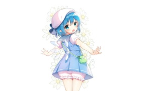 Picture back, chamomile, white background, handbag, crystals, touhou, blue hair, takes, knickers, Cirno, sailor, Touhou Project, ...