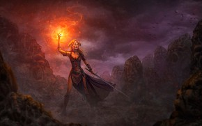 Wallpaper girl, fire, magic, sword, warrior