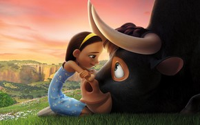 Picture girl, bull, friends, animated film, Ferdinand, animated movie