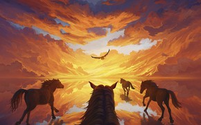 Picture Sunset, Bird, Horse, Art, Rendering