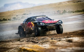 Picture Auto, Sport, Machine, Speed, Race, Peugeot, Squirt, Lights, Red Bull, Rally, Dakar, Dakar, SUV, Rally, …