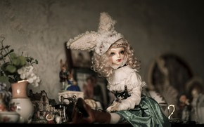 Picture look, girl, flowers, retro, table, background, room, wall, clothing, toy, boots, doll, dress, blonde, hat, …