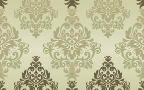 Wallpaper green, vector, texture, ornament, background, pattern, classic, seamless, damask