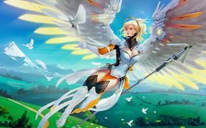 Picture wings, overwatch, Mercy, Angela Ziegler, angel girl medic
