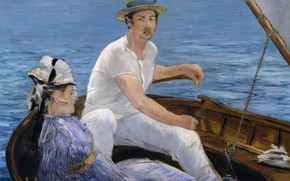 Picture genre, picture, boat, impressionism, Edouard Manet, Rowing, Edouard Manet