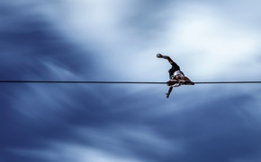 Picture the sky, rope, risk, balance, tightrope Walker