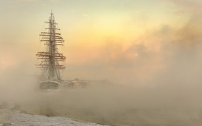 Picture winter, the city, fog, ship, sailboat, frost, couples