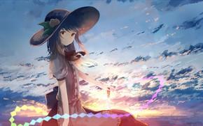 Picture girl, hat, anime, touhou, hinanawi tenshi