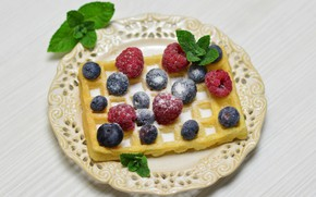 Picture berries, raspberry, Breakfast, blueberries, mint, waffles, powdered sugar