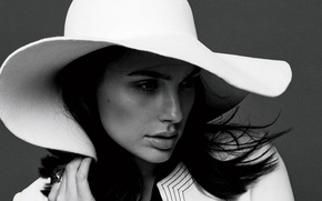 Picture portrait, hat, actress, beauty, black and white, in white, Fashion, Gal Gadot, Gal Gadot, 2015, ...
