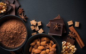 Picture chocolate, sugar, cinnamon, almonds, hazelnuts, cocoa, star anise