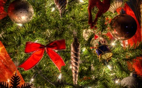 Picture balls, holiday, balls, toys, new year, tree, bow, light bulb