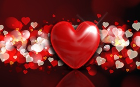 Wallpaper bokeh, background, love, romantic, hearts, hearts, Valentine's Day, red