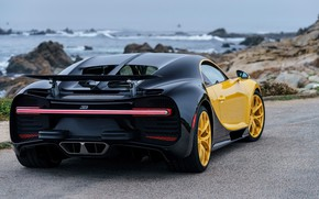 Wallpaper Chiron, 2018, rear view, Bugatti, Yellow and Black