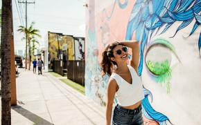 Picture joy, face, the city, smile, street, model, hair, beauty, Monica