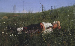 Picture the sky, grass, flowers, oil, Canvas, Nikolay KUZNETSOV, Russian woman, In celebration