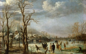 Picture landscape, oil, picture, canvas, Art van der NEER, River view in Winter