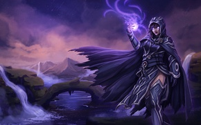 Picture girl, mountains, night, river, magic, hood, MAG, cloak, art, Magic the gathering