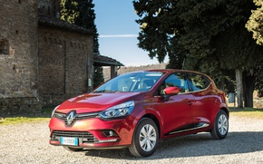 Picture auto, the sun, Renault, Clio, red, metallic, worldwide
