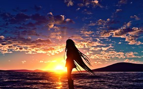 Picture sea, girl, sunset, silhouette, Vocaloid, Ya