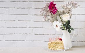 Picture flowers, bouquet, Holiday, March 8, cake, women's day
