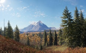 Picture The sky, Nature, Mountains, The game, Autumn, Trees, Forest, Spruce, Art, Hunter, Hunting, theHunter™: Call …