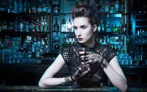 Picture style, model, glass, bar, makeup, hairstyle, mitts, Melanie Kazmercyk
