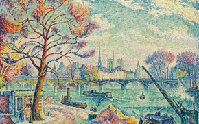 Wallpaper pointillism, Paul Signac, The Pont Des Arts. Paris, the urban landscape, picture
